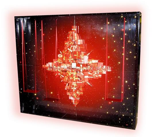présentoir de vitrine pour Noël avec décor intérieur