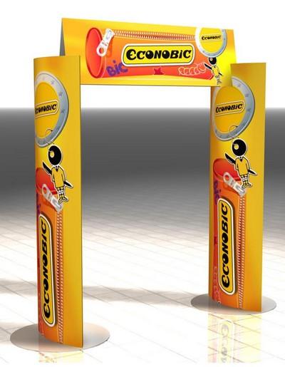 portique publicitaire - arche publicitaire avec colonnes et fronton elliptique