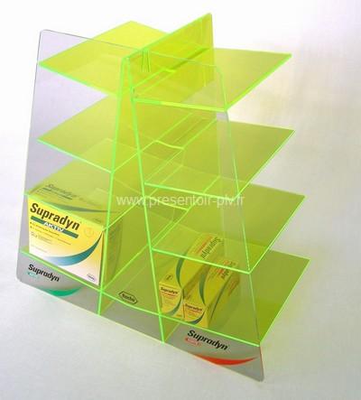présentoir de comptoir en acrylique avec étagères
